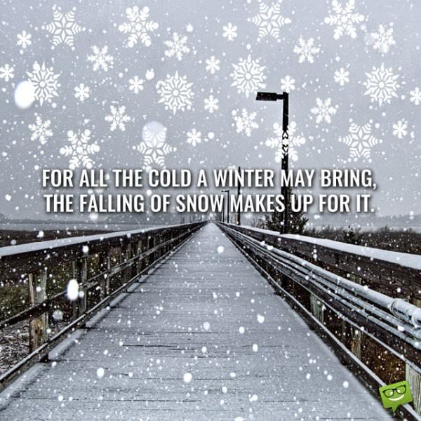 For all the cold a winter may bring, the falling of snow makes up for it.