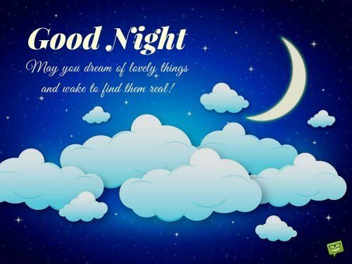 Good Night. May you dream of lovely things and wake to find them real!