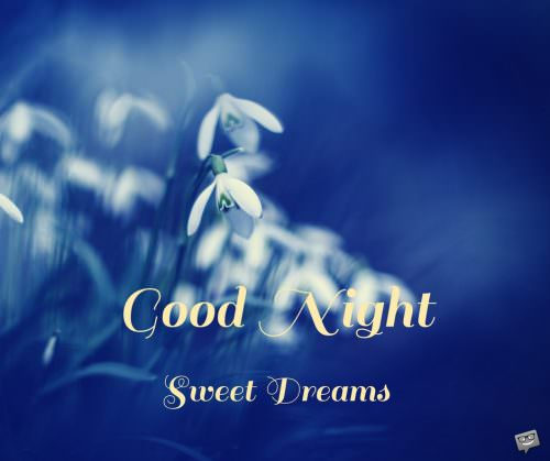 Good Night. Sweet dreams.