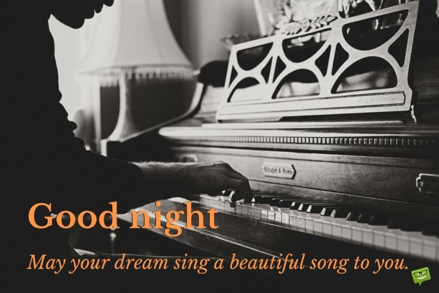 Good night. May your dream sing a beautiful song to you.