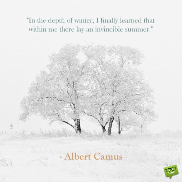 In the depth of winter, I finally learned that within me there lay an invincible summer. Albert Camus.