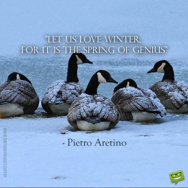 Let us love winter, for it is the spring of genius. Pietro Aretino.