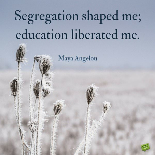 Segregation shaped me; education liberated me. Maya Angelou.