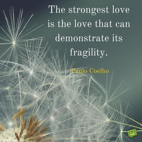 The strongest love is the love that can demonstrate its fragility. Paulo Coelho