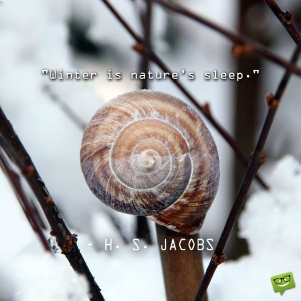 Winter is nature's sleep. H. S. Jacobs