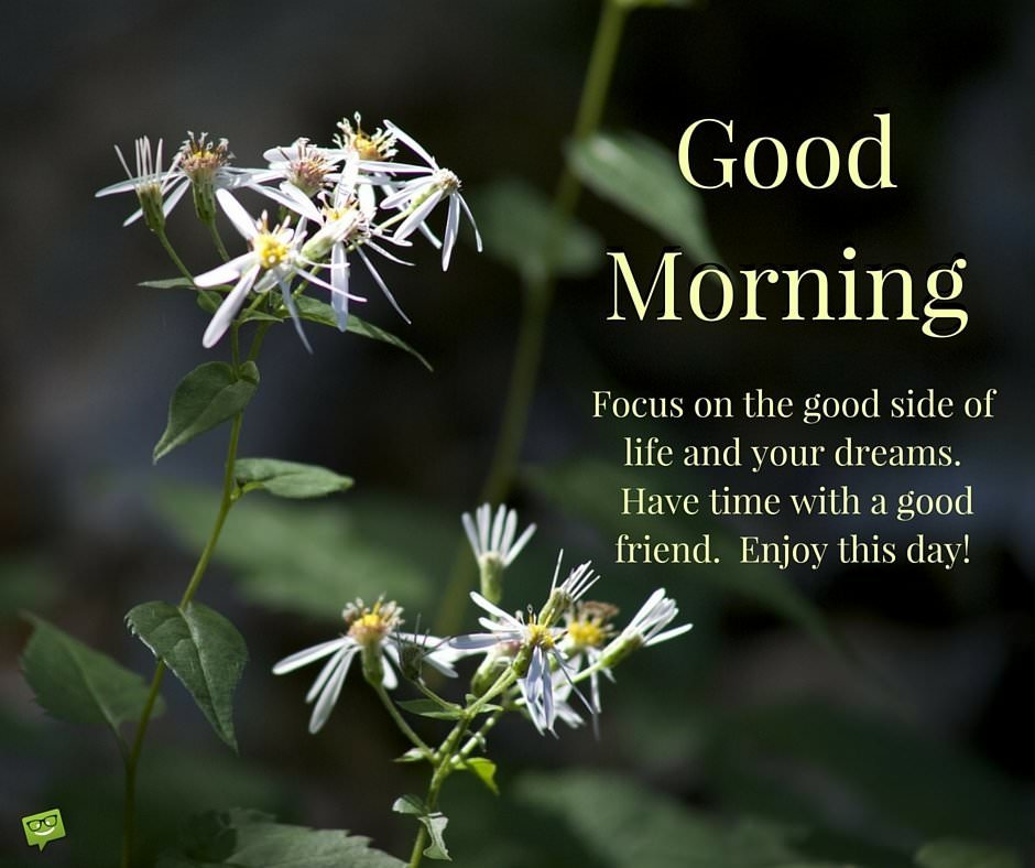 Good Morning. Focus on the good side of life and your dreams. Have time with a good friend. Enjoy this day!