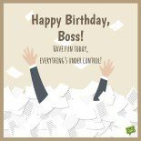 Happy Birthday, Boss! Enjoy this day, everything's under control. Funny birthday card.