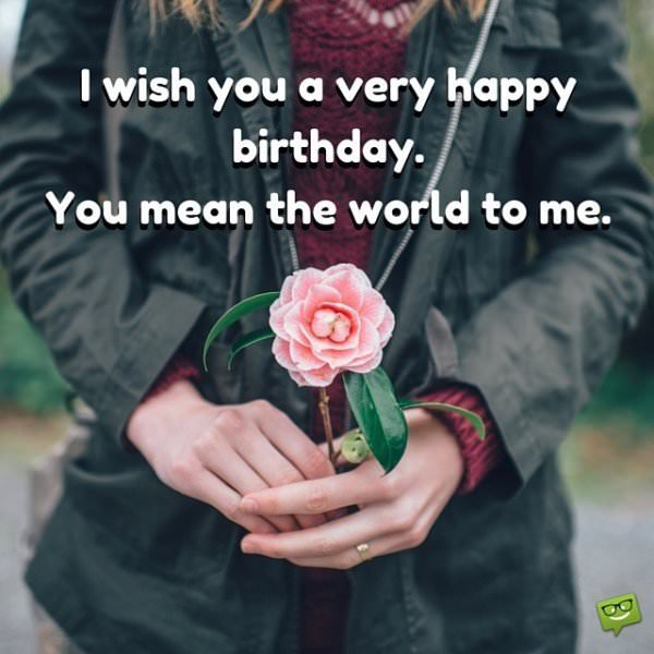 I wish you a very happy birthday. You mean the world to me.