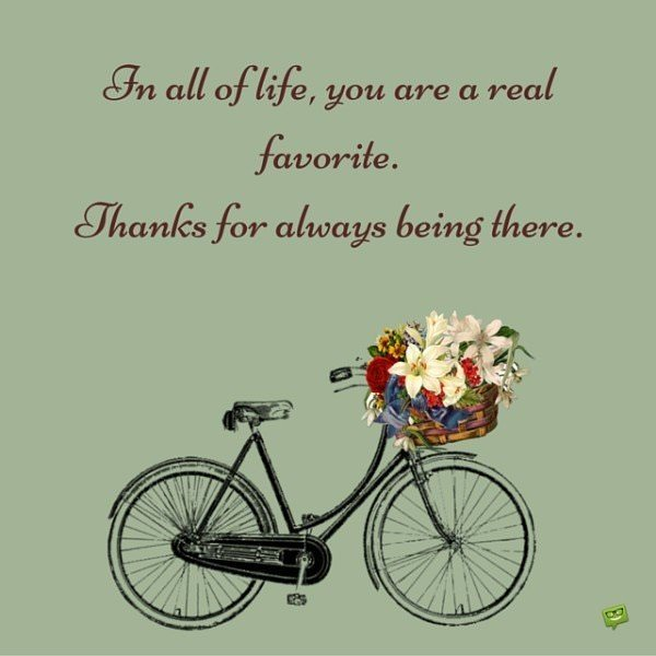 In all of life, you are a real favorite. Thanks for always being there.