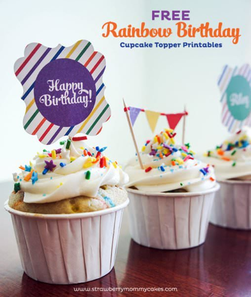 Free cupcake toppers by Strawberry Mommy