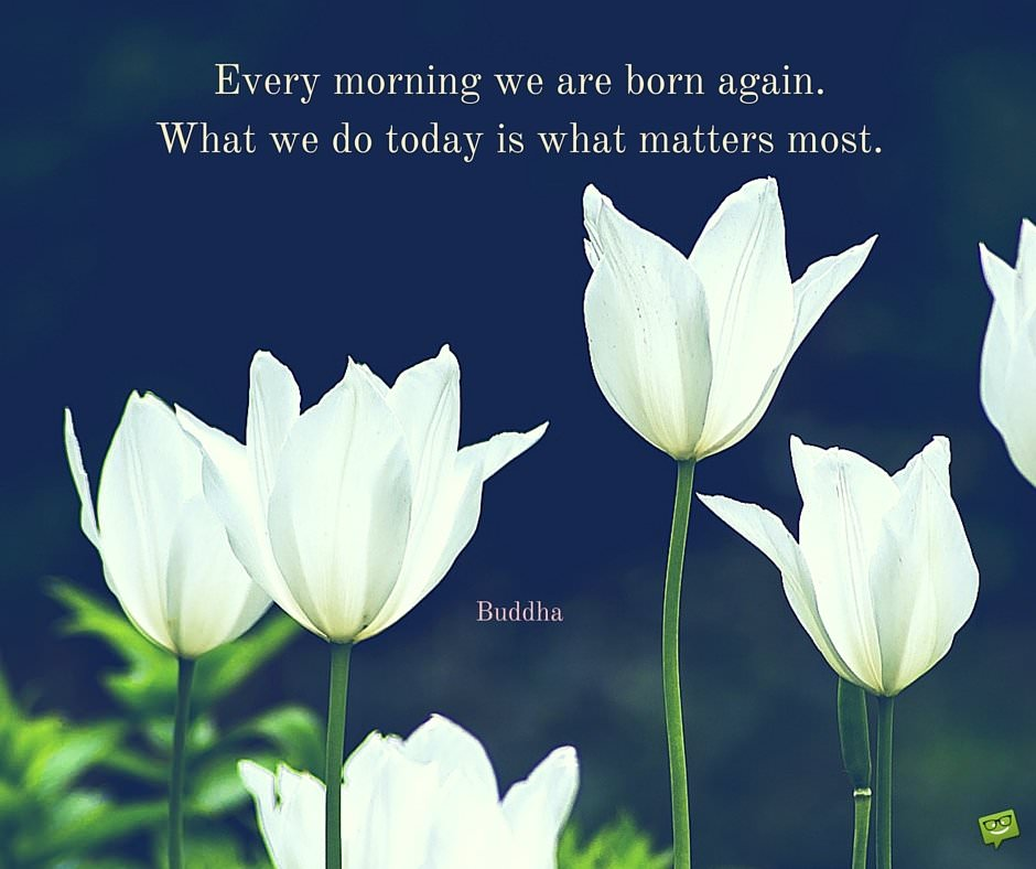 Every morning we are born again. What we do today is what matters most. Buddha.