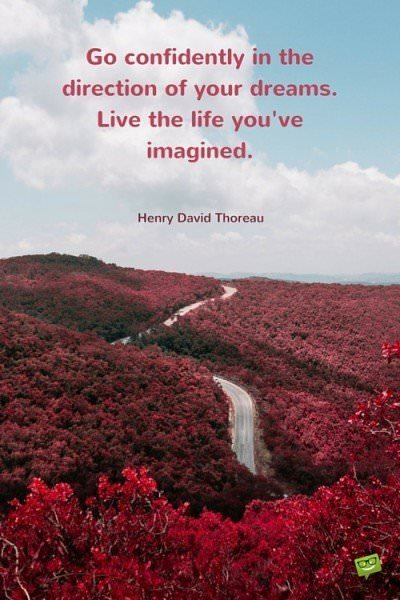 Go confidently in the direction of your dreams. Live the life you've imagined. Henry David Thoreau.