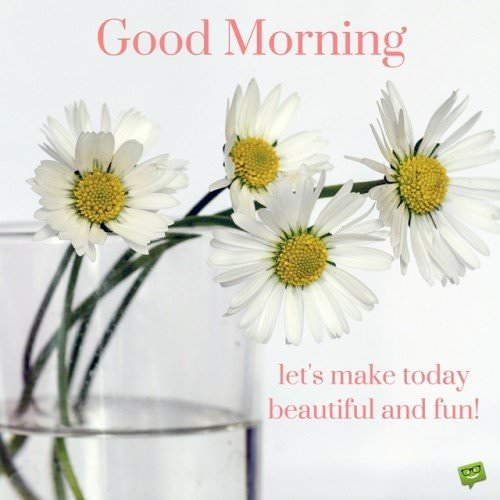 Good Morning. Let's make today beautiful and fun!