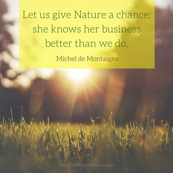 Let us give Nature a chance; she knows her business better than we do. Michel de Montaigne.