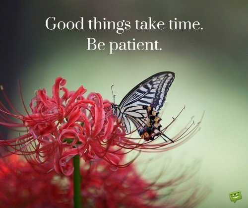 Good things take time. Be patient.