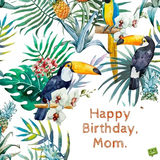 Happy Birthday Mom Tropical Scene Painted With Watercolors