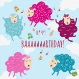 Happy birthday card with sheep singing.
