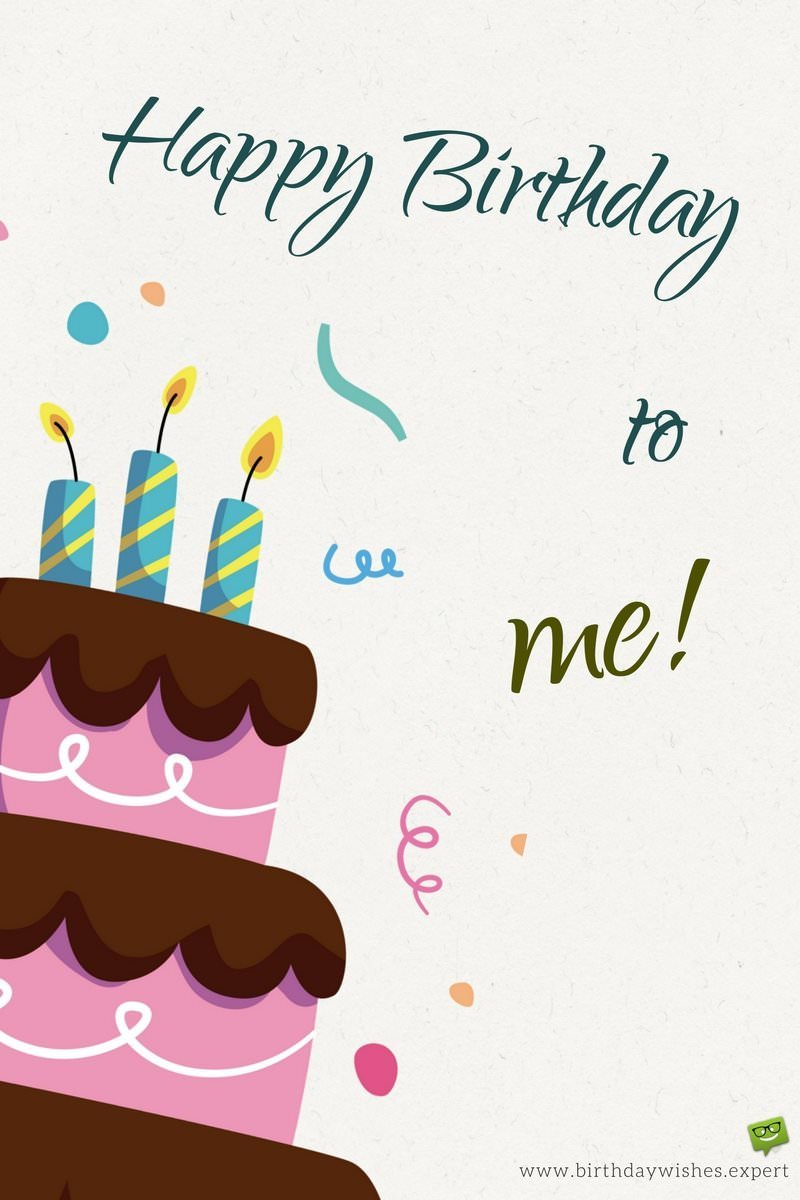 Marvelous Birthday Wish For Myself On Image With Cake And Confetti Personalised Birthday Cards Bromeletsinfo