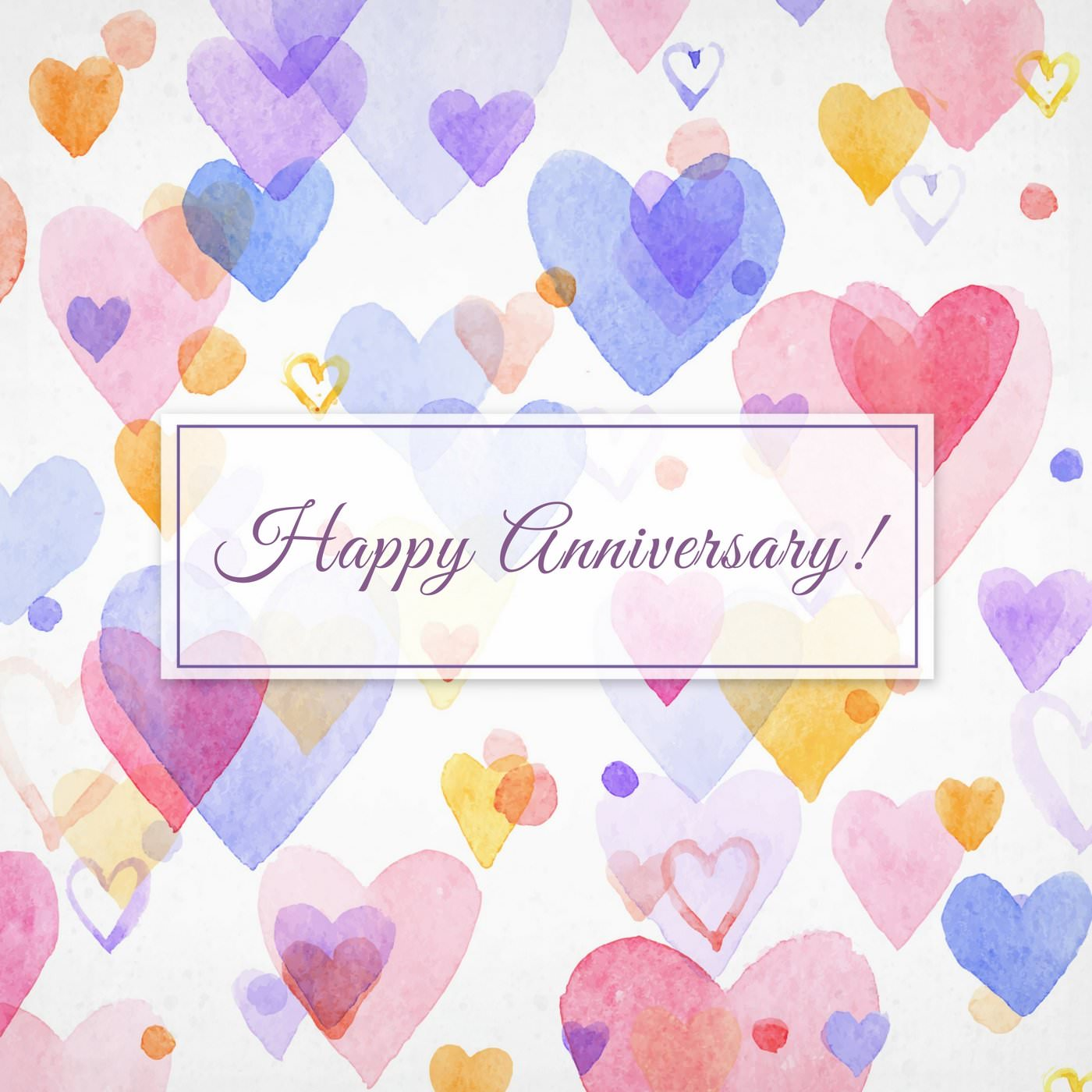 Happy Anniversary wish on image with colored hearts