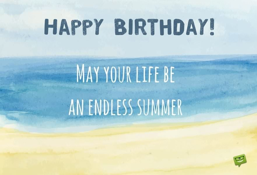 Happy Birthday wish on image of a beach painted with watercolors.