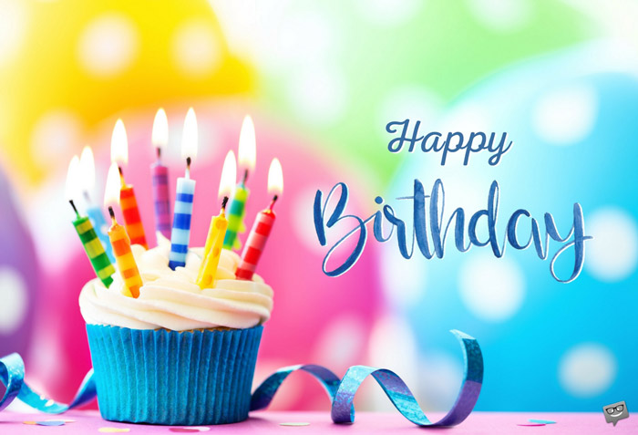 Happy Birthday Wish Cup Cake Candles Balloons