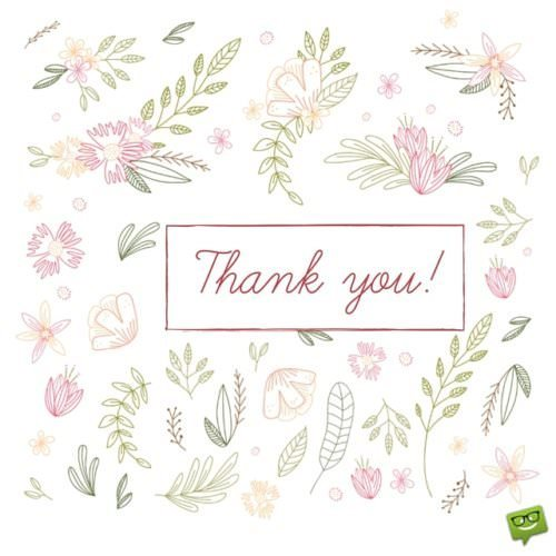 Thank you! On cute floral image SQUARE