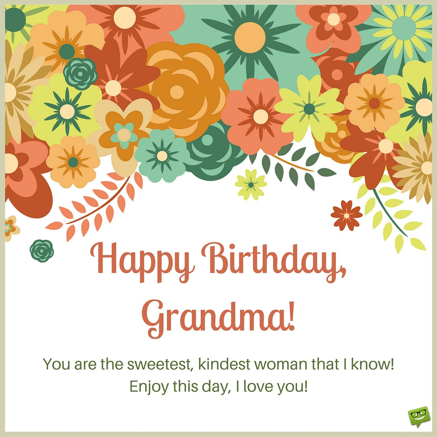 Birthday Wish For Grandma On Card With Drawings Of Colorful Flowers