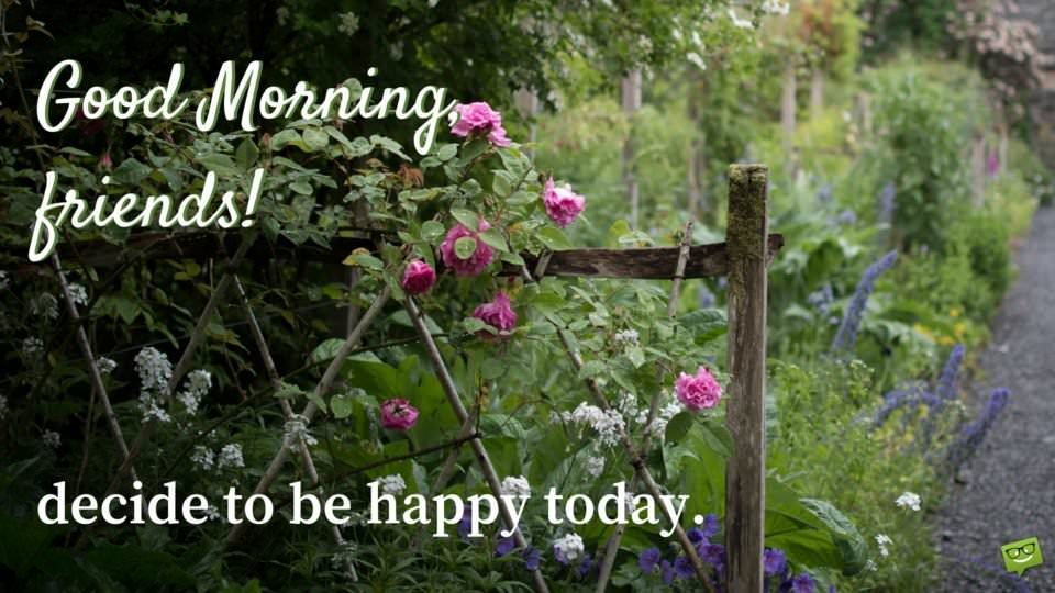 Good Morning, friends. Decide to be happy today.