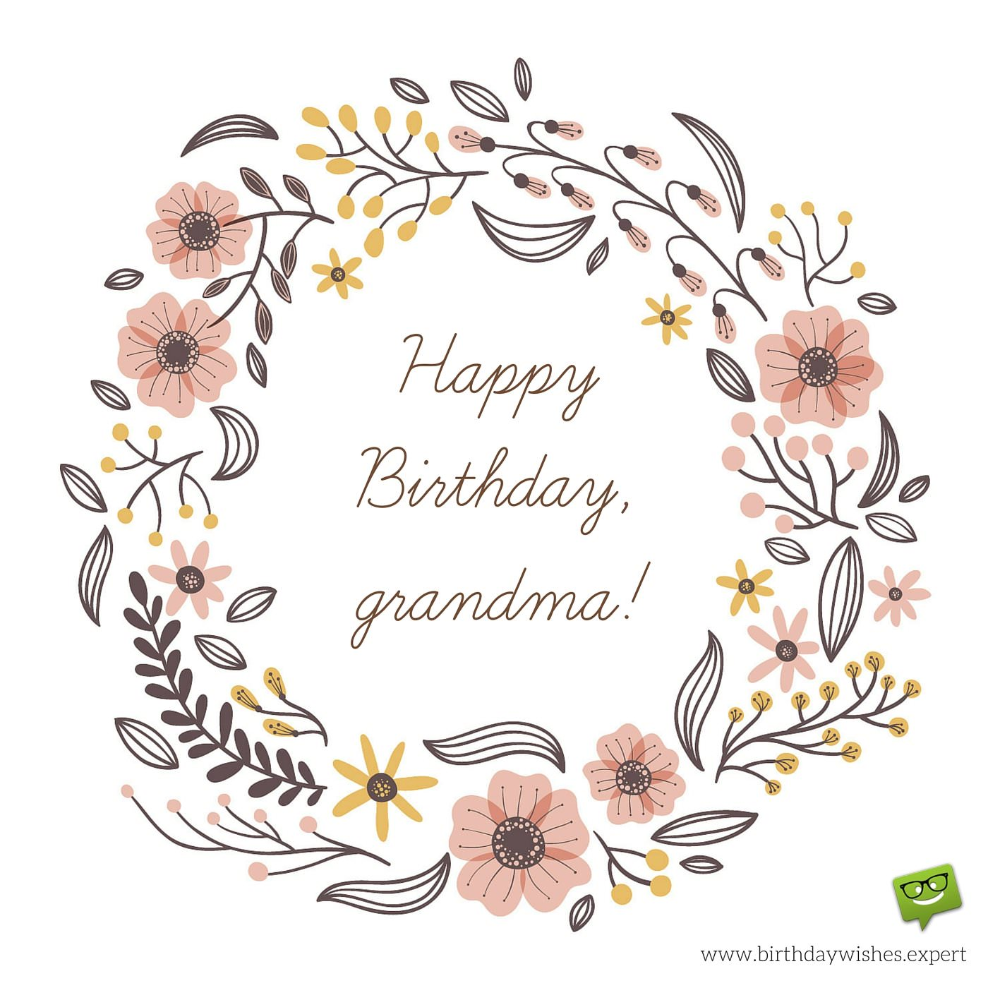 Happy Birthday Grandma On Image With Hand Drawn Flowers