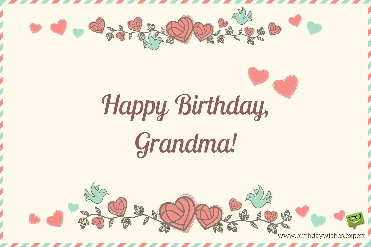 Happy Birthday Grandma on image of an old envelope with flowers and cute hearts