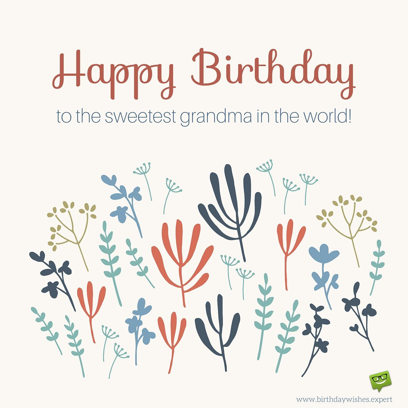 Happy birthday grandma on image of cute leaves and flowers happy birthday grandma on image of cute leaves and flowers izmirmasajfo