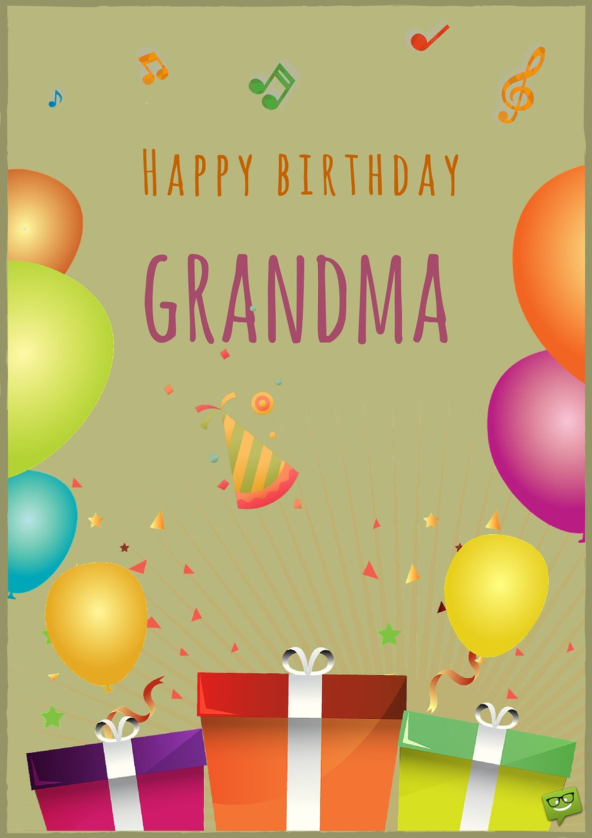 Happy Birthday Card For Grandma With Image Of Balloons And Gifts