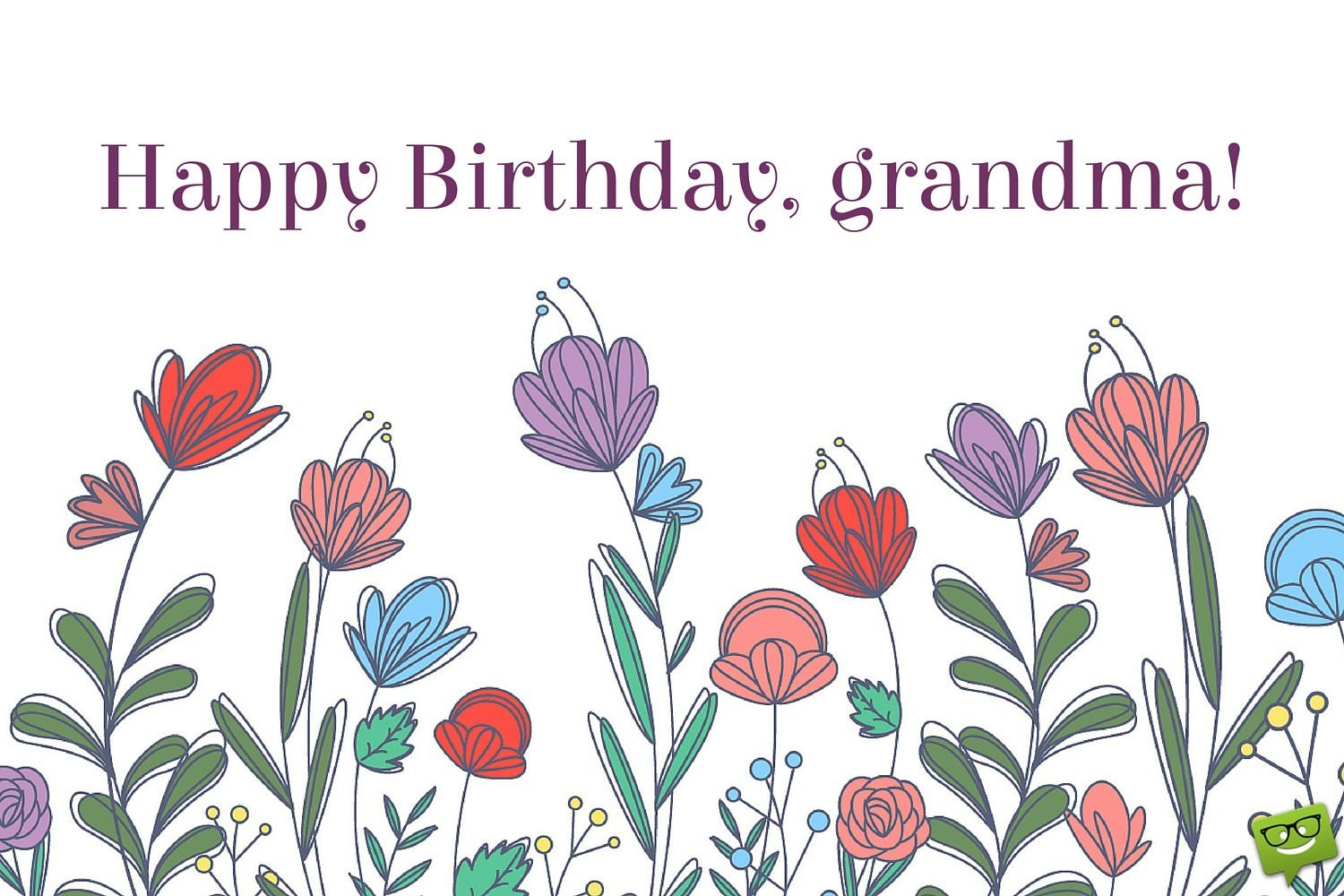 Happy Birthday Grandma On Image Of Cute Spring Flowers