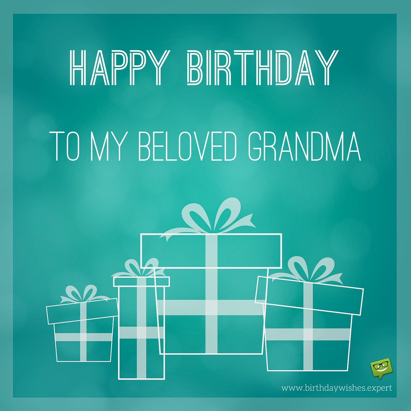 Birthday Image For Grandma With Gifts On A Turquoise Background
