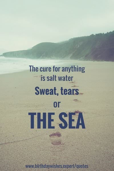 The cure for anything is salt water. Sweet, tears or the sea.