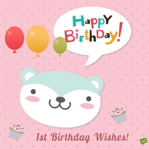 1st year birthday wish with cute animal square