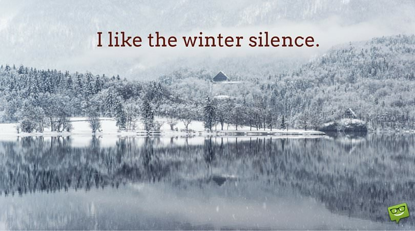 I like the winter silence.