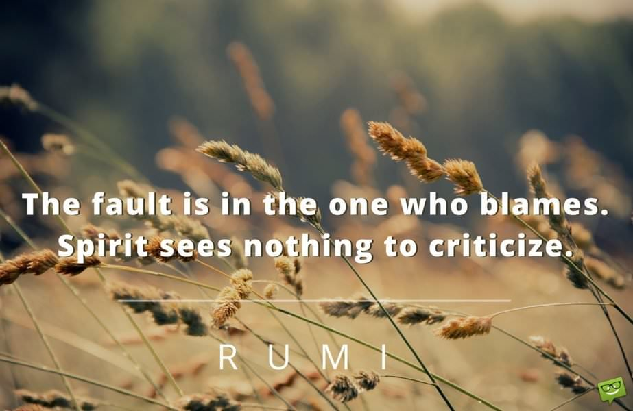 The fault is in the one who blames. Spirit sees nothing to criticize. Rumi