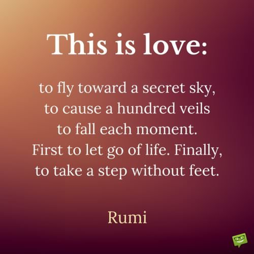 This is love. to fly toward a secret sky, to cause a hundred veils to fall each moment. First to let go of life. Finally, to take a step without feet. Rumi
