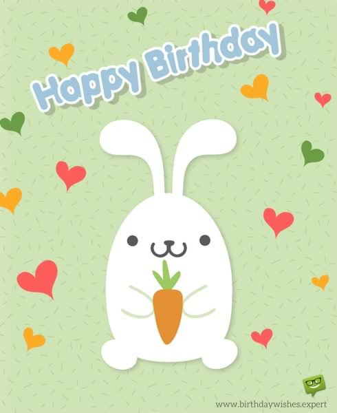 Wish for 3rd birthday with cute bunny and hearts