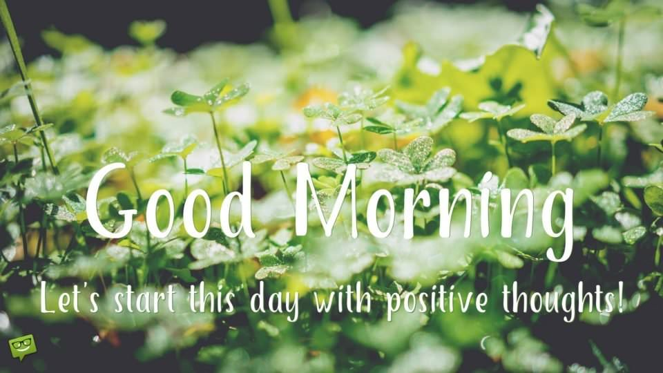 Good Morning. Let's start this day with positive thoughts.