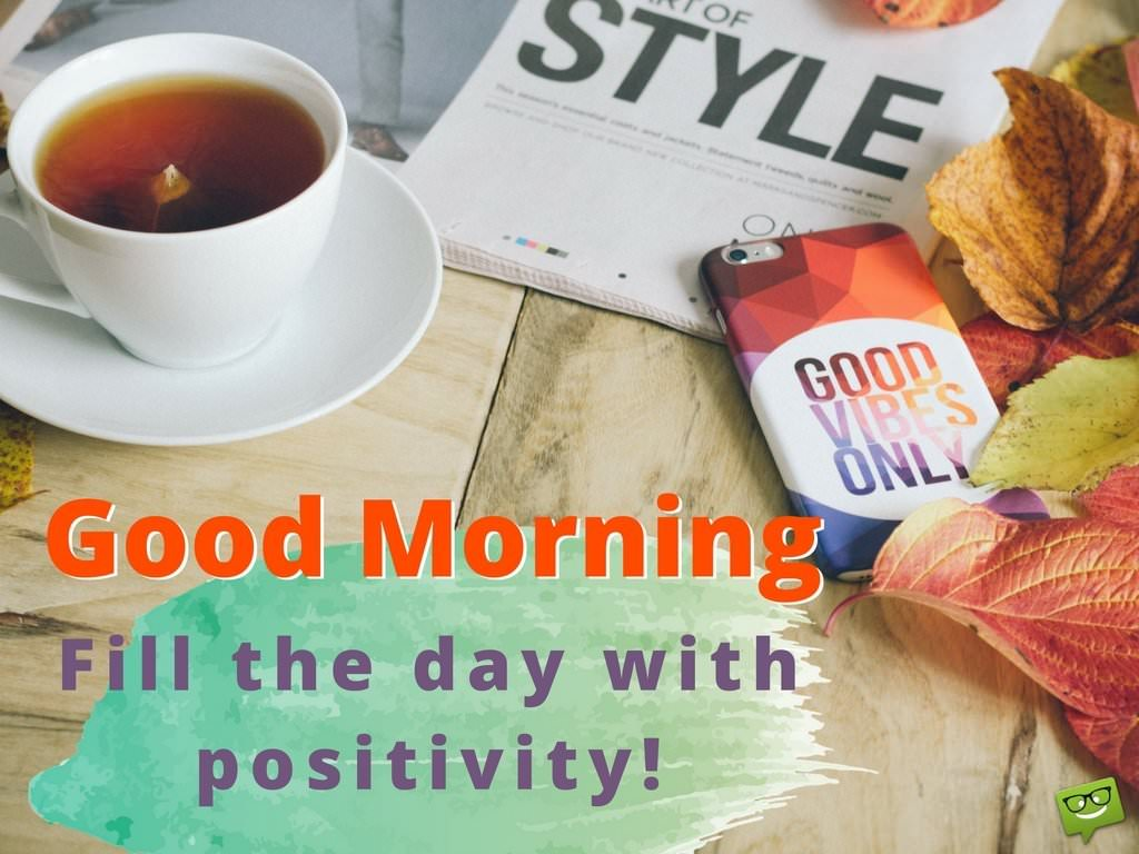 Good Morning Positive Quote On Photo With Coffee And Office Desk