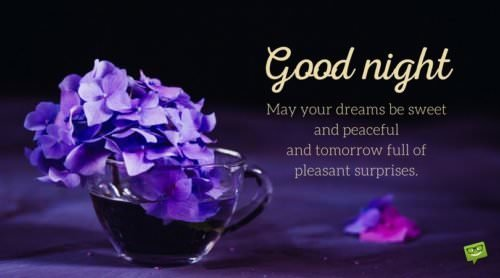 Good Night. May your dreams be sweet and peaceful and tomorrow full of pleasant surprises.