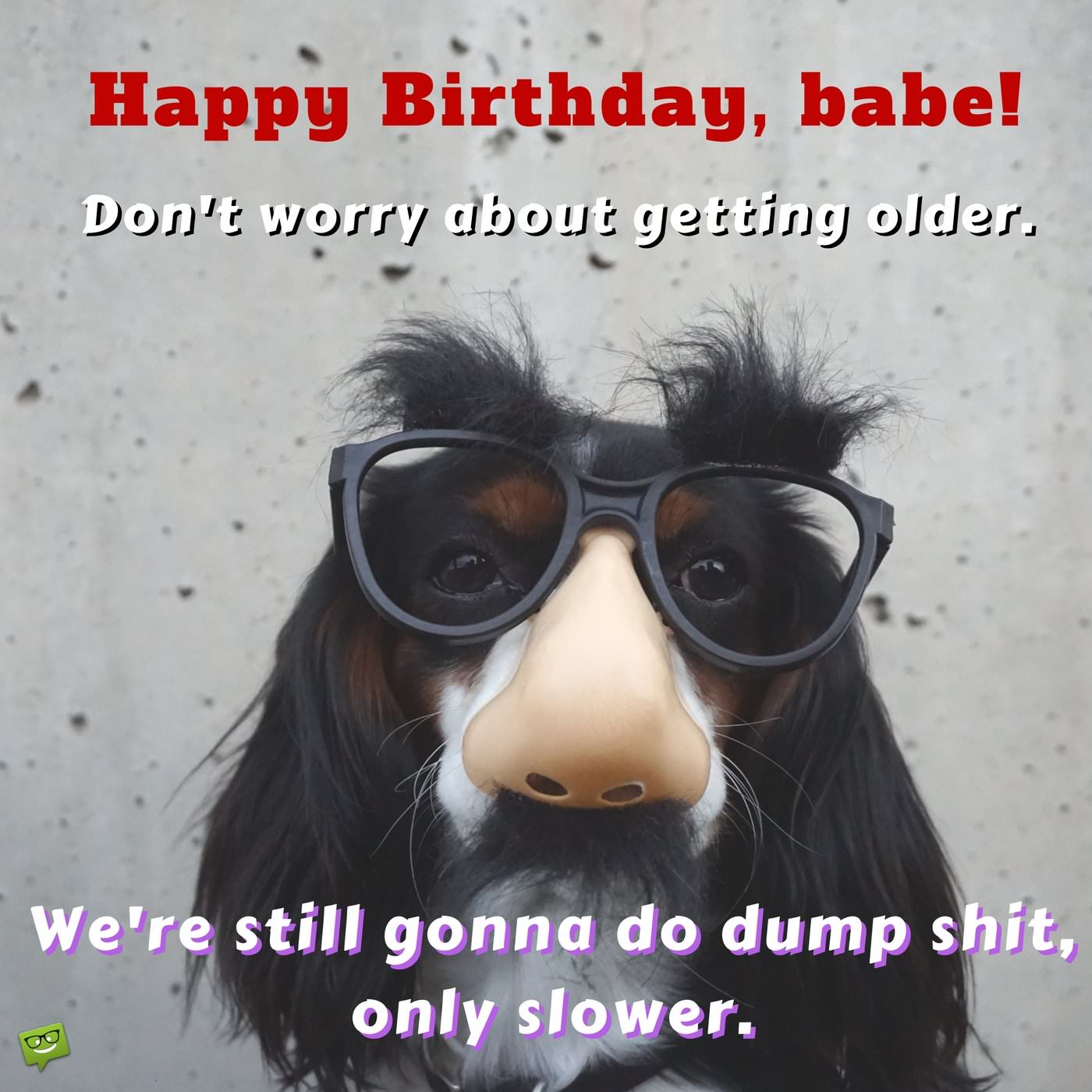 Happy Birthday Babe Dont Worry About Getting Older Were Still Gonna Do Dump Shit Only Slower