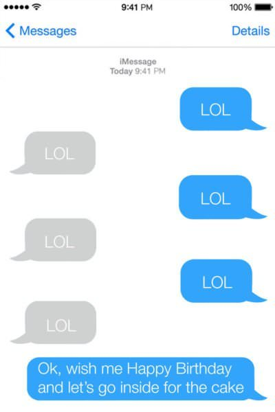Funny Birthday Message to a friend on iPhone