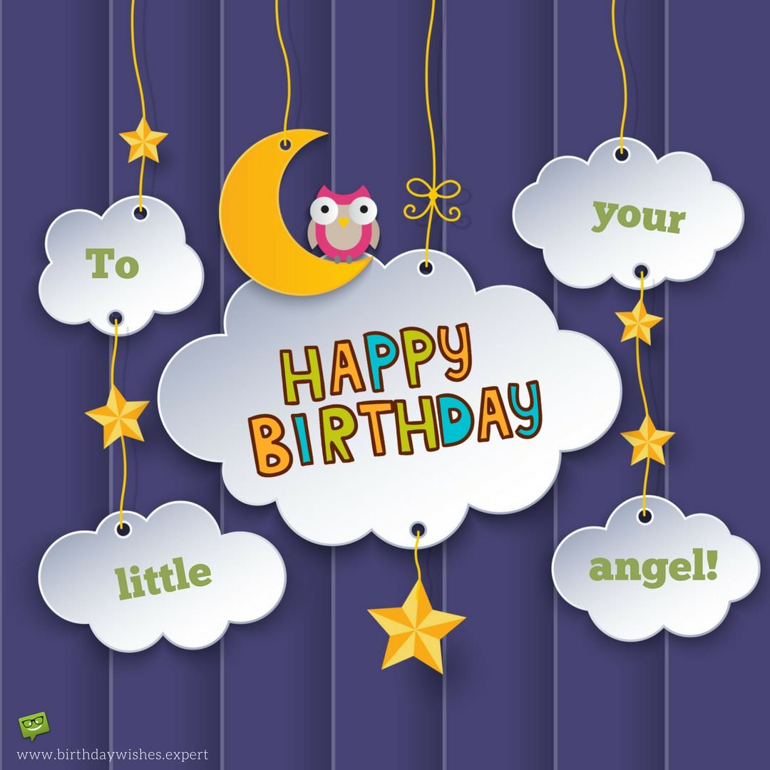 Happy Birthday To Your Little Angel Wish For Friends Kid On Image