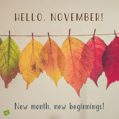 Hello, November! New month, new beginnings!