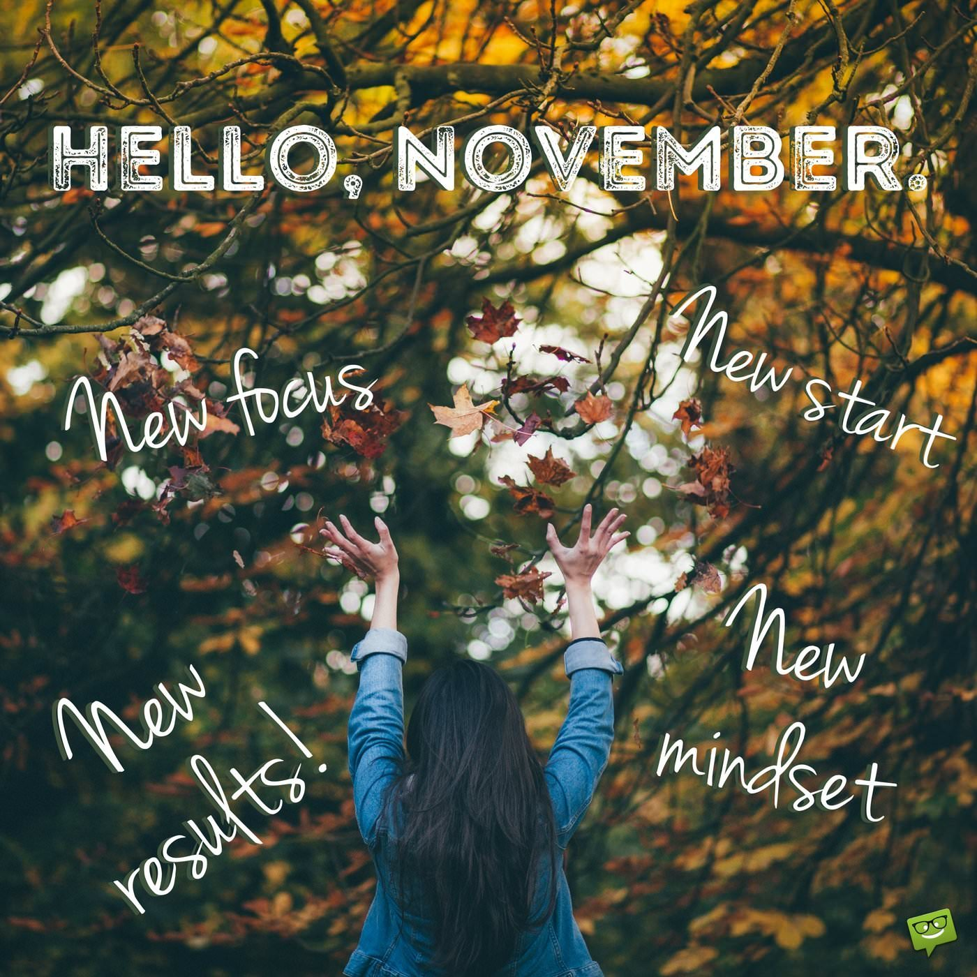 Hello November Motivational Quote On Image With Woman In Autumn Nature Landscape