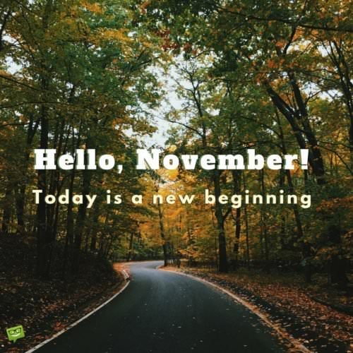 Hello, November. Today is a new beginning!
