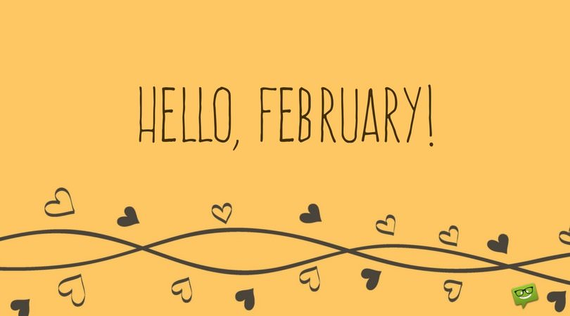 Cute hello, February on yellow background with hearts and